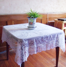 "Free shipping floral lace table cloth 140*140cm(55""*55"") Square100% polyester white color"