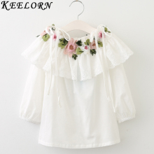Keelorn Girls Shirts 2017 Summer New Style Girls Blouse Long Sleeve Floral Embroidery Children's Blouses Girls Clothes 3-7y