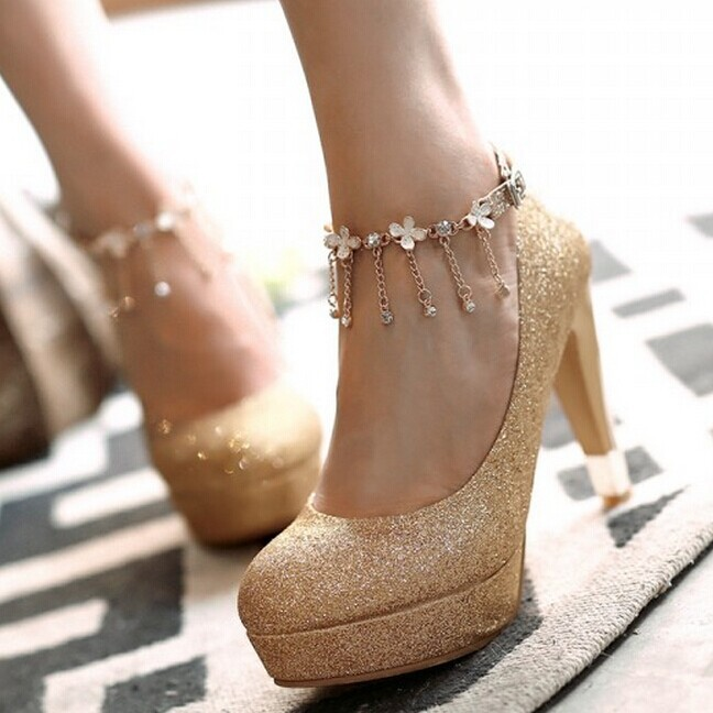 Fashion Crystal flowers thick heel platform shoes women shoes party high heels silver / gold / red<br>