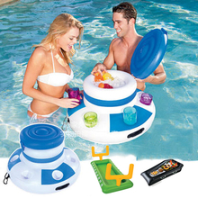 Inflatable Ice Bucket Blue Pool Floats Kids Adult Swimming Party Fun Water Floating Island Buoy Toys Beer Drink Supplier Holder(China)