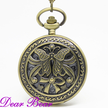 DH066  Vintage Bronze Butterfly Pocket Watch Necklace, Dia 4.7.cm, 12pcs/lot, Free shipping