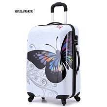 "20"" 24""inch amazing hot sales Japan butterfly ABS trolley suitcase luggage/Pull Rod trunk /traveller case box with spinner wheel(China)"