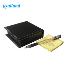Square PU Leather Memo Holder Paper Note Box Sticky Note Storage(China)