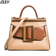 ICEV 2017 new fashion belt decoration ladies work office tote bags handbags women famous brands messenger bag shoulder clutch