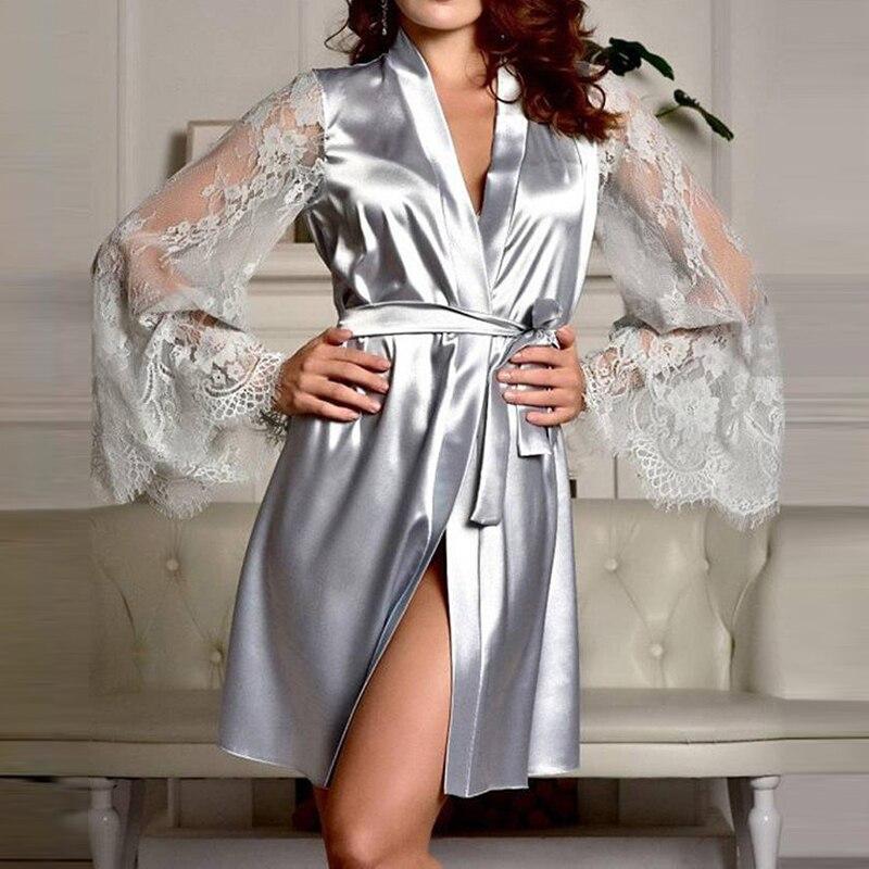 S-2XL 2019 Women Sexy Silk Dressing Lace Lingerie Belt Bath Robe Nightwear Women Sexy Nightwear Dress Female Bathrobes