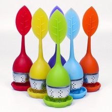 500pc/lot Manufacturer Direct Leaf Silicone Tea Infuser with Drip Tray Silicone Tea Bag Tea Filter 6 Colors for choose