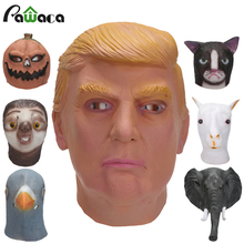 President Donald Trump Party Costume Mask Celebrity Animal Sloth Elephant Head Masks Halloween Latex Masquerade Carnival Mask(China)