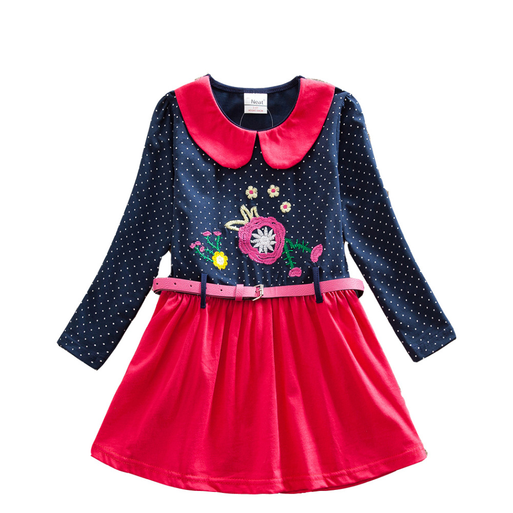 4-8Y Retail Girls Dresses Flower Frocks Clothes Princess Long Sleeve Baby Clothes Kids Party Halloween Dresses Neat Cloth LH6869<br><br>Aliexpress