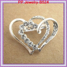 High Quality 12Pcs/lot Clear Crystal Rhinestone Nice Silver Heart Brooch!Wholesale Cheap Brooch Pins