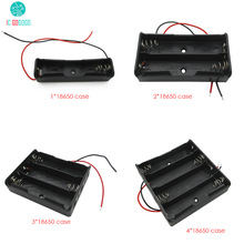 2pcs 1*18650 2*18650 3*18650 4*18650 Battery Box Storage Battery Case Holder with Wire Leads Black Plastic 1/2/3/4pcs 18650
