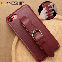 CASESHIP Genuine Leather Case For iPhone 7 8 Plus Adjustable Wrist Strap Real Leather Vintage Phone Case Cover For iPhone Coque(China)