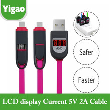 Smart Sync Charging Micro USB data cable with LCD display current for samsung galaxy s2 s3 s4 note 2 htc for iphone 5 6s