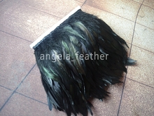 Free shipping- 10yard/color Black Coque Rooster Tail Feather Fringe,rooster feather trimming 5-6inch in width(China)