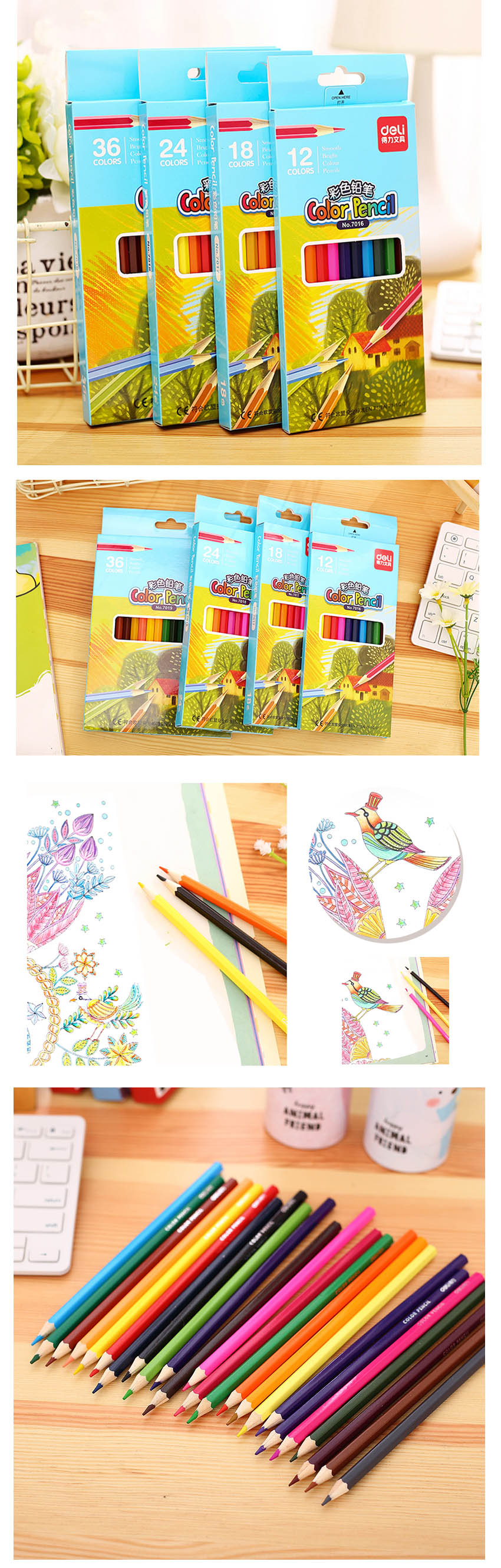 Deli 36 colors Stationery High quality Colored Pencil Drawing Painting Candy Colors Pencils For School Non-toxic For student 2