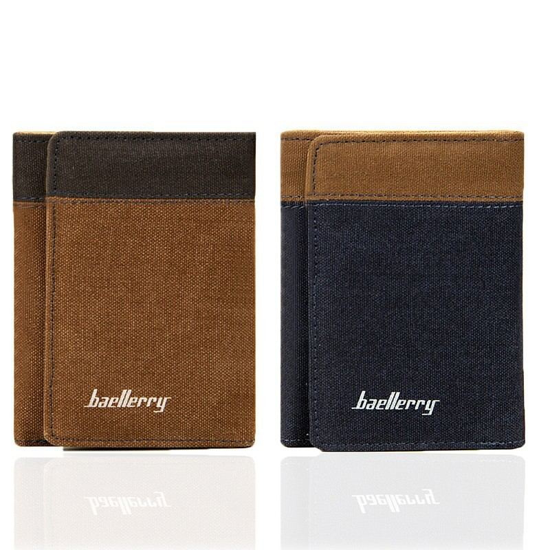Leisure Time European Men Wallets Short 3 Fold Blue Brown Canvas Vertical Section Student Card Holder Purse Wallet Free Shipping<br><br>Aliexpress