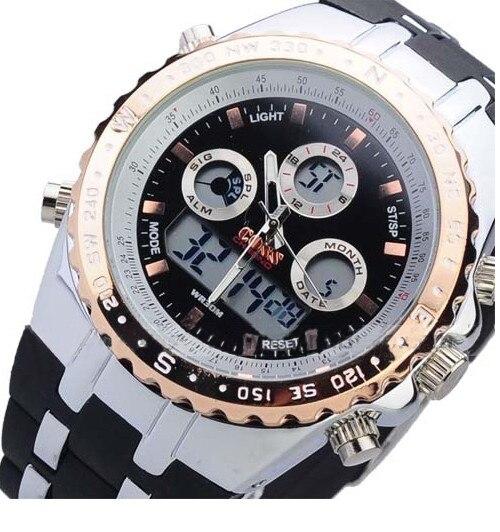 Fashion Digital Analog Sport Dual Time Watch With Stopwatch Week Alarm Calendar EL Backlight Bistec<br><br>Aliexpress