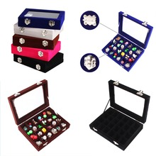 24 Grids Black Blue Gray Velvet Jewelry Box Organizer Ring Earrings Necklaces Makeup Holder Storage Case Casket For Women #86003