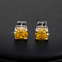 ORSA JEWELS Luxury 2 ct Princess Cut Yellow Cubic Zirconia  Earring for Girl Trendy Fashion Women Jewelry Wholesale 2017 OEW124