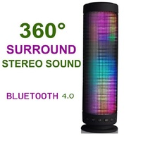 LED lights Bluetooth Speaker Portable Power Recharged 360 Degree USB DC 5V Surround Stereo Sound Wireless Sound bass speaker(China)