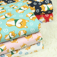 half yard export Japanese cartoon dog cotton linen fabric, handmade DIY quilts mouth gold package garment cloth CR-A18(China)