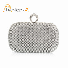 TenTop-A Super Luxury Popular Women Both Sides Diamonds Finger Ring Evening Bags Day Clutches Purse/Bling Bags Gold/Silver/Black(China)