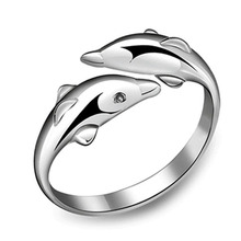 2017 Hot Korean Fashion Personality  Double Dolphin 925 Opening Adjustable Silver Plated Female Ring Free Shipping