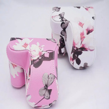 White/Pink Chinese Style Butterfly Digital Camera Bag PU Leather Case Cover for Sony A6000 NEX-6 A6300 With Strap