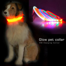 LED Pet Dog Collar Rechargeable USB de perro Mascotas Perros Glow Light Adjustable Flashing Lights Collars For Pets Dogs Cats(China)