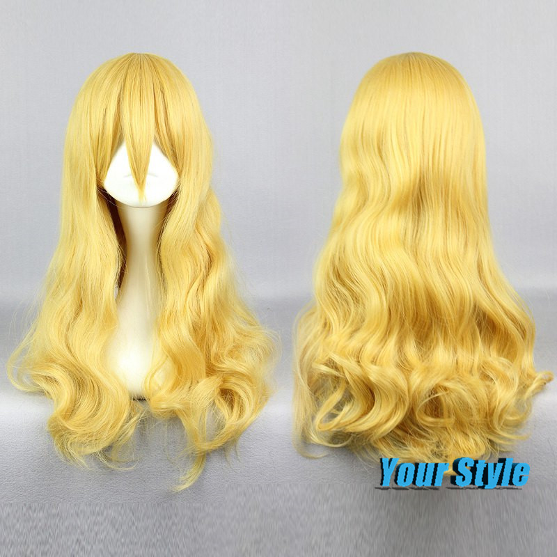 63CM Sexy Long Wavy Big Wave Curly Women Synthetic Hair Golden Yellow Wigs for Women Your Lie in April Kaori Miyazono Wigs Anime<br><br>Aliexpress
