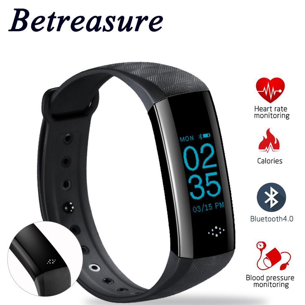 Betreasure New BW06 Smart Wristband Bluetooth Heart Rate Monitor Sport Smart Band GPS SOS Help Fitness Bracelet Smart Wear