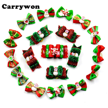 Carrywon 20pcs/50pcs/100pcs/Set Handmade Pet Dog Christmas Hair Bows Assorted Christmas Pattern Cute Hair Accessories for Dogs