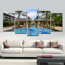 5 Pieces Swimming Pool Canvas Painting Landscape Quadros Decoration Oil Picture Scenery Wall Art Picture for Living Room UnFrame
