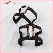 BOROSA black snakeskin cuff bangle with free-form natural pearl pave gold/silver zircon around hand bangle druzy jewelry JAB494