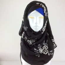 Nice Embroidery Floral Shawl Scarves And Stoles Muslim Head Scarf Hijab Cotton Shawl Tassels Women Scarf bandana