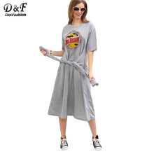 Dotfashion Faux Sleeve-Tie Logo Print Tee Dress Grey Round Neck Drop Shoulder Short Sleeve Midi Shift Dress