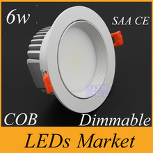 White shell CREE COB 6w LED Downlight Dimmable 90-260V 12v 600lm Led Fixture Recessed Cabinet Down Lights WW/NW/CW with Driver