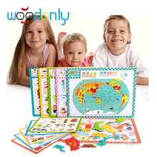 Wooden Magnetic Puzzle Board 3D Learning Animal Building Tool map Educational Kids Toys oyuncak