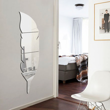 [Fundecor] 3d feather dressing mirror wall stickers home decor plastic decals Bedroom Bathroom wall decorative mirror(China)