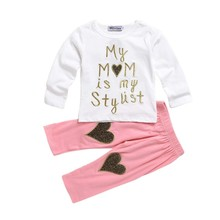 2017 New Style Toddler Girls Heart Pattern Clothing Sets Baby Heart Shirt + Long Pant Kids 2 Pcs Set