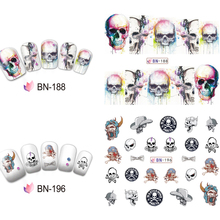 36 pcs Skull Nail Decals Assortment Water Slide Halloween Nail Stickers Decoration Salon Quality(China)