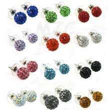 Cheap! Free Shipping !10mm 120 pairs /lot mixed 18 random color crystal Silver Plate shamballa earrings studs. Fasion wholesale!(China)