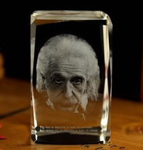 Christmas novel Unique best gift # great Scientist Albert Einstein 3D crystal art--BEST business NEW YEAR present(China)