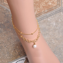 New Exquisite Copper Anklets For Women Pearl Circles Ankle Bracelet Loop shaped Foot Jewelry Ankle Bracelet On A Leg Bijuterias