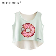 2017 MITTELMEER bare midriff Tank tops Women harajuk Crew Neck Top sleeveless Donuts irregular Tanks Summer tops For Ladies(China)