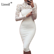 Sexy Women White Lace Dress New 2017 Winter Turtleneck Long Sleeve Red Black Club Factory Bodycon Bandage Midi Party Dresses(China)