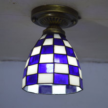 Tiffany Small Ceiling Light Mosaic Stained Glass Lampshade Mediterranean Sea Lighting E27 110-240V