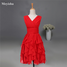 ZJ0121 short red v neck chiffon strapless girls cocktail dresses for party 2015 new arrival tassels with ruffle juniors(China)