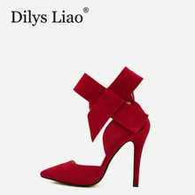 Dilys Liao Fashion Women Shoes Pointed Toe Big Bowtie Knot High Heels Pumps Sandals Shoes Red Black Blue Green Pink plus size 43