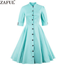 ZAFUL Plus Size M~4XL Mint Color Women Vintage Dress Stand Collar Half Sleeves Button Retro Feminino Vestidos Elegant Work Dress(China)