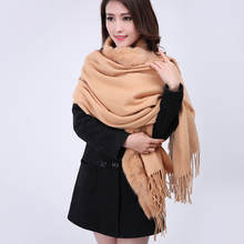 Camel 100% Wool Cashmere Pashmina With Rabbit Fur Shawl Scarf Fashion New Winter Women's Warm Oversize Tippet 180 x 70cm 011614